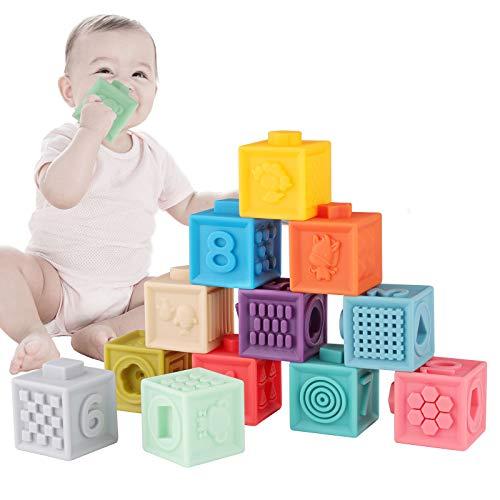 Seamuing Babyspeelgoed 0-12 Maanden Baby Stapelblokken, Educatief Zacht Knijpspeelgoed, Tandjes Kauwen Speelgoed Babybad Speelgoed Peuters 0-3 Jaar