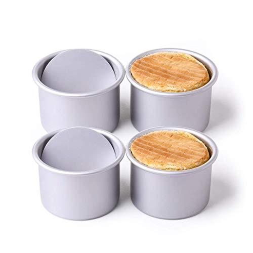 GJJSZ Moule à gâteau   Moule de Cuisson,4 Ensembles Mini Moule antiadhésif Rond Four Ménage Dessert House Équipement Professionnel 4 Pouces Live Bottom Cake Mould