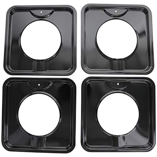 "KITCHEN BASICS 101 SGP-400 Replacement Porcelain 7.75"" Square Gas Range Pans for WP786333, AP6011553 and PS11744751-4 Pack"