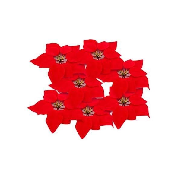 WEKNOWU Paquete de 20 flores artificiales de seda roja de Pascua realista, cabeza floral de 20 cm de diámetro de la flor…