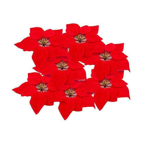 WEKNOWU Paquete de 20 Flores Artificiales de Seda de Poinsettia roja Realista, Cabeza de Flores de 8 Pulgadas de...