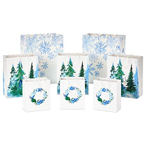 Hallmark Sustainable Holiday Gift Bags (8 Bags: 3 Small 6', 3 Medium 9', 2 Large 13') Recyclable White with Wreaths, Snowflakes and Trees for Christmas, Hanukkah, Weddings, Birthdays