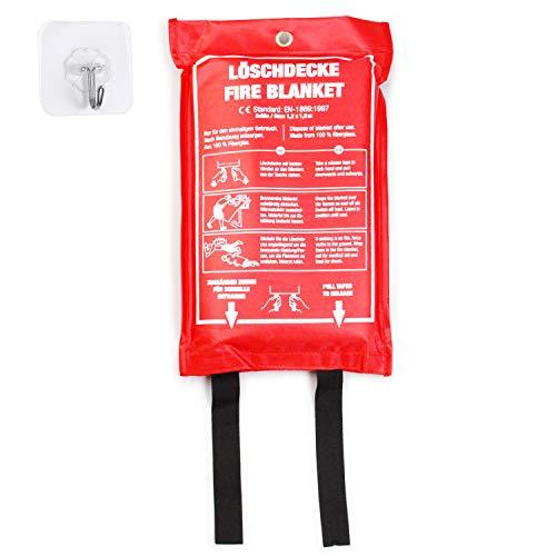 Amazy Manta Ignifuga (XL | 1,2 x 1,2 m) incl. Bolsa protectora + Gancho – Manta antincendios para extinguir fuegos incipientes y mayor seguridad para hogar, para oficina o almacen