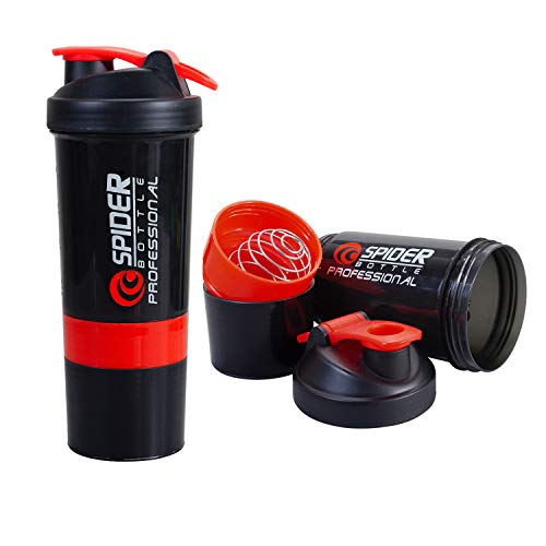SOUXE Spider Protein Shaker Bottle 500ml with 2 Storage Extra Compartment for Gym(RED)