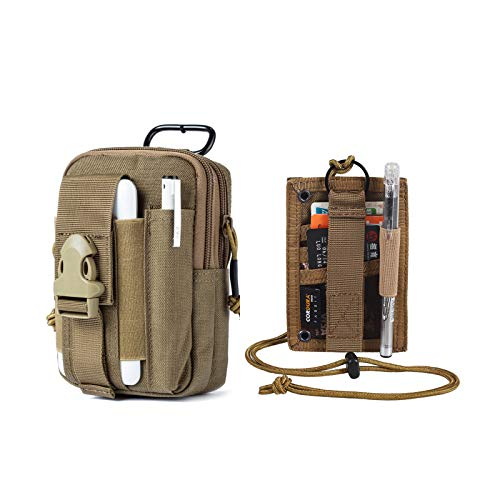 OneTigris Tactical ID Card Holder & MOLLE EDC Pouch (Coyote Brown)