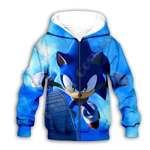 YX GIRL Kids Super Sonic Hoodie Novelty Sweater Hoodies Jacket for Boys and Girls (N-Kid-Zip-1 L)