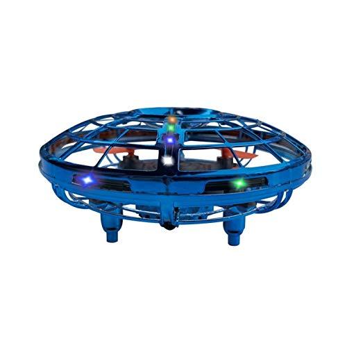 BELLA BEAR Mini Drone UFO Juguetes voladores con Luces LED Dos Modos de Juego (Vuelo y Tierra) Inducción Infrarroja Controlado a Mano Fácil de operar para niños-Azul