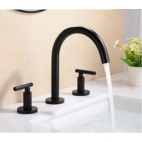 TAOXIXI Rubinetto per lavabo rubinetto da bagno in oro lucido rubinetto per lavabo a 3 fori per lavabo largo