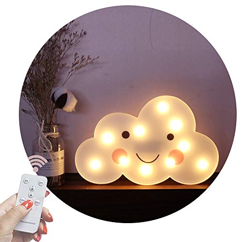 Obrecis Light Up Cloud Marquee Sign, Remote Control Cloud Marquee Light White Printed Cloud Lamp for Bedroom, Nursery Room, Child Kids Girls Decor (White Smile Cloud)