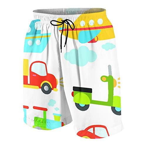 Alvaradod Men's Personalized Swim Trunks,Abstract Transportation Types For Toddlers Car Ship Truck Scooter Train Aeroplane,Beachwear Swimsuits Board Shorts Bathing Suits L