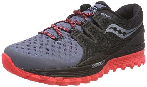 Saucony Xodus ISO 2, Zapatillas de Deporte para Mujer, Gris (Gry/Blk/Vizi Red 5), 38 EU