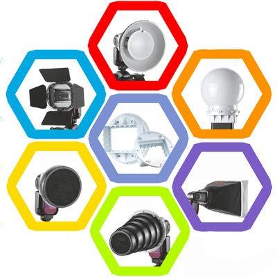 GALAXSPAREPARTS Falcon Eyes SG-100 Kit de Accesorios Flash, Montaje de Adaptador Universal/Barndoor/Snoot/Honeycomb/Reflector estándar/Honeycomb for Soft Reflector/Difusor Ball/Gel de co