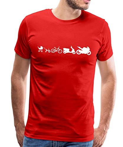 Evolution Motorrad Biker Roller Fahrrad Kinderwagen Männer Premium T-Shirt, 3XL, Rot
