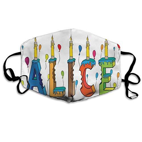 Colorful Girl naam met balloons bitten letters kaarsen Cartoon Style illustratie Printing Safety Mouth Cover voor volwassenen