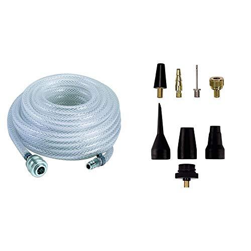 Einhell 4138200 - Manguera para aire comprimido, 15 m, 15 bar, color gris + Pack de 8 accesorios para aire comprimido, color negro