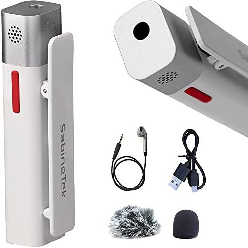 SabineTek SmartMike+ - 充電式ワイヤレスマイク、Bluetoothマイク ハンズフリーノイズキャンセリング GoPro、キャノンカメラ、iPhone/Androidに対応 - ビデオログや面接に最適