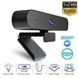 VVCAR 1080P Webcam with Microphone, Full HD Streaming Web Camera with Privacy Cover, Wide-Angle Lens...