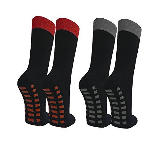 Qano 2 Paar Stoppersocken schwarz/rot grau 35-38