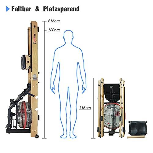 Fitifito WR19 Rudergerät Wasserrudergerät, 170kg maximales Benutzergewicht, 17l Wassertank, Widerstandseinstellung durch Wassertank-Regulierung, 120 cm Aluminiumgleitschiene, LCD-Display (Esche) - 5