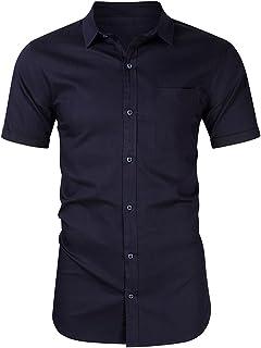 Andoer Fashion Men Regular-fit Denim Shirt Turn-down Collar Short Sleeves Button Summer Casual Blouse Tops Tee