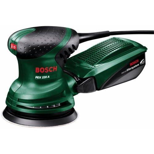 Bosch Home and Garden 603378000 Levigatrice Eccentrica con 1 Platorello Abrasivo, 220 W, 240 V, Blu/Rosso, 21.1 x 34.6 x 7 cm