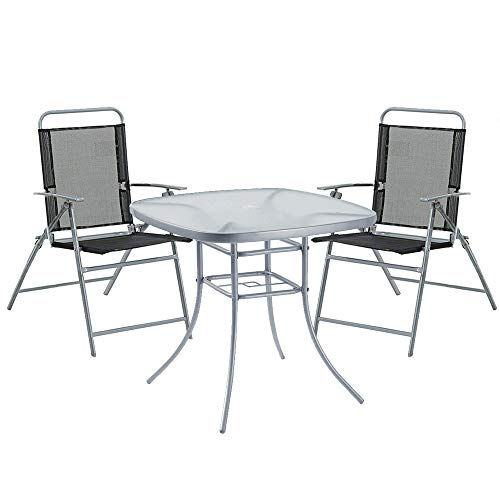 Havnyt Garden Patio Set Table 80cm with 4 Folding Chairs weatherproof