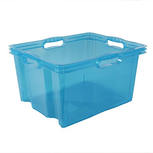 keeeper Aufbewahrungsbox mit integrierten Griffen, Größe: XL, 43 x 35 x 23 cm, 24 l, Franz, Blau Transparent