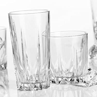 Home Essentials 3040-HE Empire Diamante Drinkware Set, 16 Piece, Clear