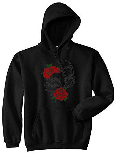 Kings Of NY Skull and Roses Mens Pullover Hoodie Large Black