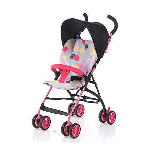 Landau Chariot Multifonctionnel bébé Poussette légère Amortisseur Parapluie Chariot bébé Portable Voyage Baby Doll Trolley ( Color : Pink )