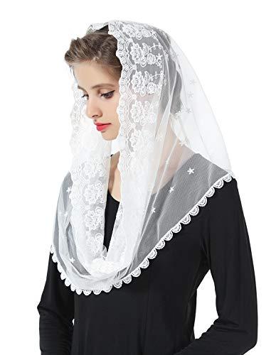 Mantilla De Encaje Española Mujer Capilla Velo Pañuelo de Iglesia Católica Bordado Chal Bufanda Negra Blanca V104