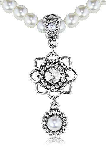 LUISIA Perlenkette mit Anhänger Herzblüte und Perlenanhänger - Schmuck Collier für Hochzeit als Brautschmuck, zu Dirndl und Trachten