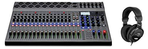 Zoom LiveTrak L-20 - Mesa de mezclas digital (potente mesa de mezclas digital con 20 canales de audio discretos y 6 mezclas de monitor individuales, incluye auriculares de confort), color negro
