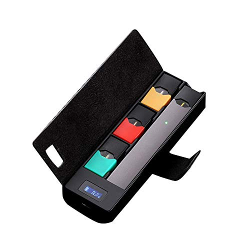 Cargador portátil con caja de carga, soporte con pantalla LCD, indicador de carga para equipo JUUL, cargador inalámbrico de mascotas, protector animal para coche con cable (negro)