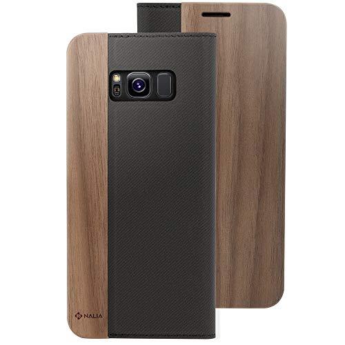 NALIA Echt-Holz Handyhülle kompatibel mit Samsung Galaxy S8, Handmade Natur-Holz Handy-Tasche Klapphülle Flip-Hülle, Dünnes Slim Kunst-Leder Hardcase, Wood Book Cover Bumper, Farbe:Walnuss