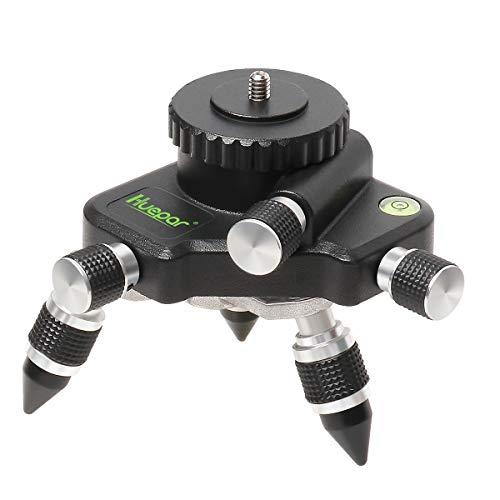Adaptador del soporte Huepar AT2 - Base giratoria de 360° para el conector de trípode de nivel láser de línea, con montaje roscado estándar de 1 4  - Ajuste de giro fino base giratoria