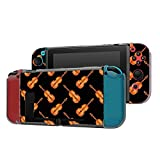 Dockable Case Compatible with Nintendo Switch Console and Joy-Con Controller, Patterned ( Watercolor Fiddle Violin ) Protective Case Cover with Tempered Glass Screen