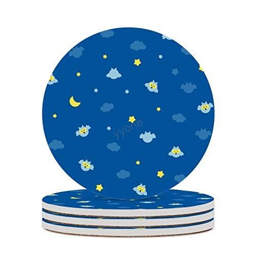 Juego de 4 posavasos de cerámica, diseño de búhos, estrellas y nubes, para mesa de Navidad, para bebidas, bar, cocina, decoración del hogar