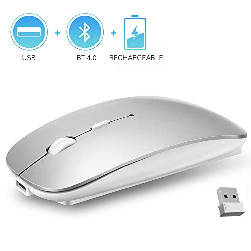 QIJIAYI 2.4GHz Wireless Bluetooth Mouse, Dual Mode Slim Rechargeable Wireless Mouse Silent USB Mice, 3 Adjustable DPI,Compatible for Laptop Windows MacBook Android MAC PC Computer (Silver)
