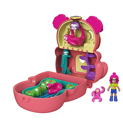 Polly Pocket Coffret Transformable réversible Paresseux des Tropiques avec mini-figurines Polly, paresseux et accessoires, jouet enfant, édition 2021, GTM59