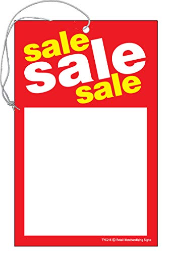 TYD215 Sale, Sale, Sale Elastic Knotted Price Sale Tags with Strings Red and Yellow Business Store Signs Pack of 100 (2 3/4 x 3 1/2)
