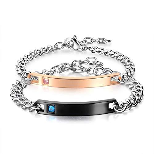 Mode roestvrij stalen paar armbanden met decoratieve diamanten voor hem en haar.