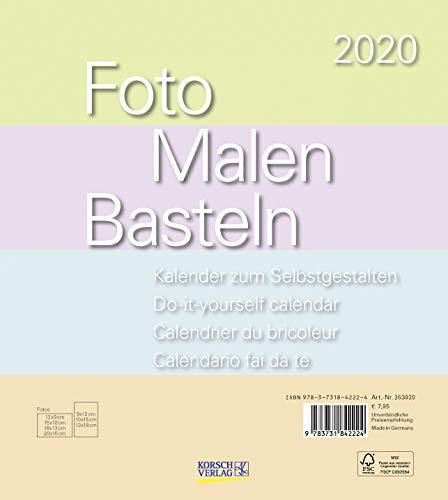 Foto-Malen-Basteln Bastelkalender Pastell 2020: Fotokalender zum Selbstgestalten. Do-it-yourself Kalender mit festem Fotokarton. Format: 21,5 x 24 cm