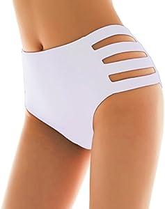 SHEKINI Mujer Negro Braguita Pantalones de Cintura Alta Bikini Braga Ropa Interior Natación Talla Grande S-XXXXL (Blanco, Medium)