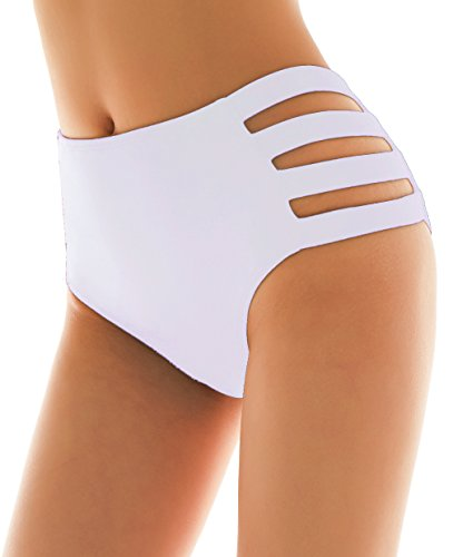 SHEKINI Damen Badeanzug Schwarz bauchweg Hohe Taille Badeshorts Abdominal Kontrolle Bikinihose Retro Badehose Bikini Höschen Plus Size (Small, Weiß)
