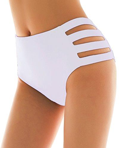 SHEKINI Damen Schwarze Badeshorts hohe Taille Bikinihose High Waist Bikini Höschen Plus Size S-XXXXL (Medium, Strapped Sides- Weiß)
