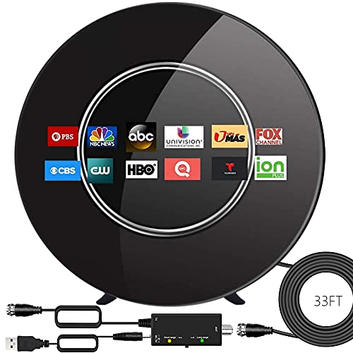 Amplified TV Antenna-2021 Newest Indoor Outdoor Digital Antenna Long up to 250 Miles Range Support 4K 1080P and All Older TV's HDTV Antenna with Smart Amplifier Signal Booster-33ft Coax Cable (Black)
