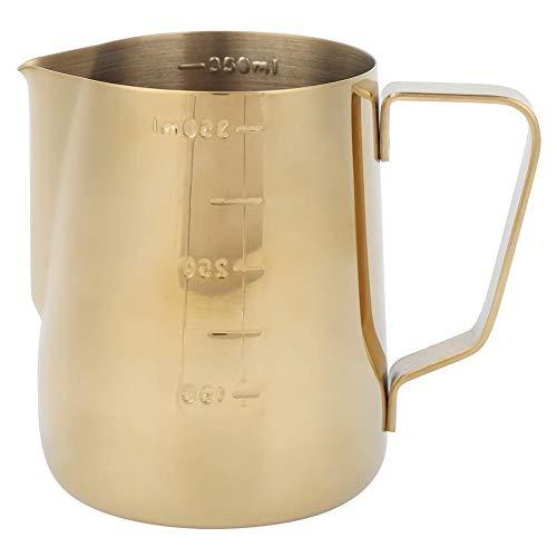 Vikenar Edelstahl-Kaffee Aufschäumen von Milch Cup Pitcher Krug mit Skala for Heim Kaffee Latte Art (Gold 350ml)