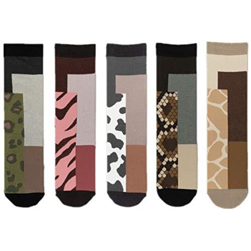 YianBestja Calcetines de Deporte Casual Gracioso Lindo animal Raya Calcetines de algodón para Mujer y Hombre (5 pares Calcetines A)