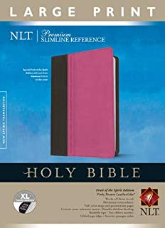 Premium Slimline Reference Bible NLT, Large Print, TuTone (Red Letter, LeatherLike, Pink/Brown, Indexed)